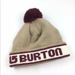 Burton Tan Maroon Spellout Beanie Pom Knit Hat
